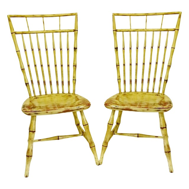 Painted Birdcage Windsor Chairs - A Pair - Image 1 of 11