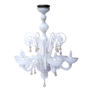 Handblown Six-Arm Murano Glass Chandelier, circa 1950-1970 For Sale