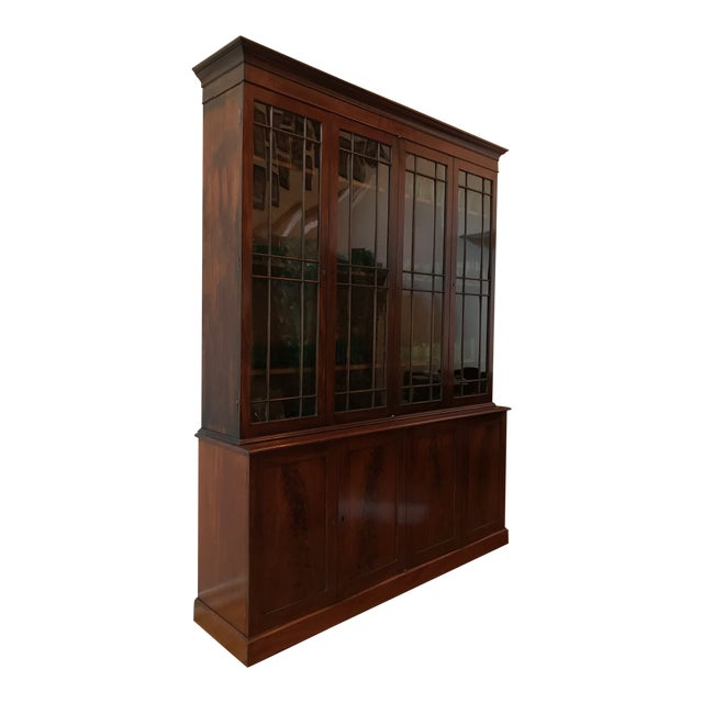 George III Style Mahogany Bookcase Cabinet For Sale