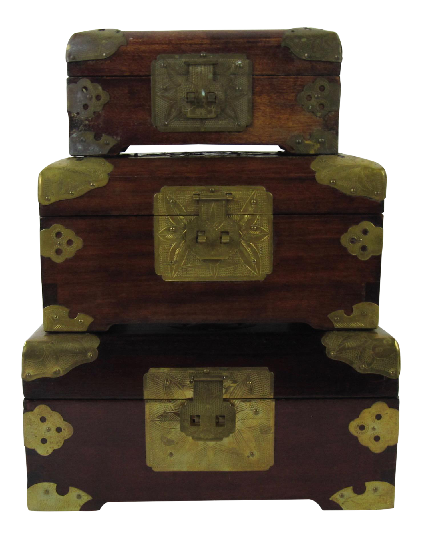 Antique Chinese Jewelry Boxes With Jade Set of 3 Chairish