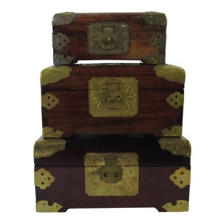 Antique Chinese Jewelry Boxes With Jade - Set of 3 For Sale