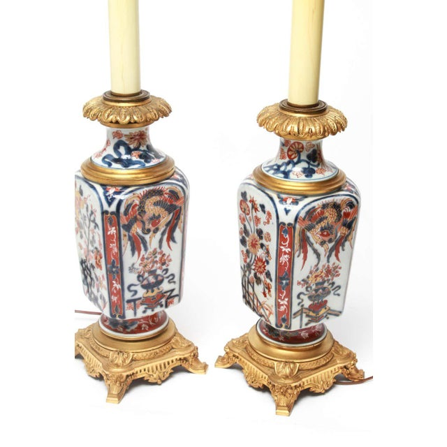 Japanese Japanese Imari Style Porcelain Table Lamps With Phoenix Motif - a Pair For Sale - Image 3 of 5