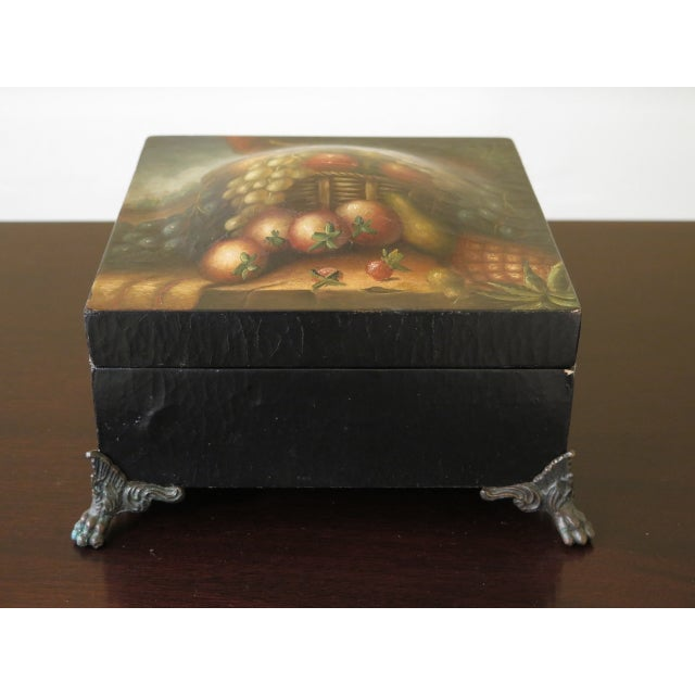 Black Maitland Smith Paint Decorated Leather Wrapped Dresser Top Box For Sale - Image 8 of 8