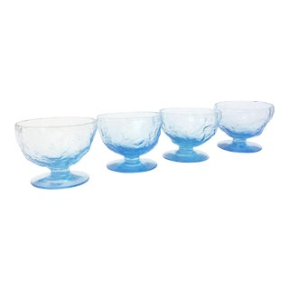 Mid Century Amorphous Blue Glass Coupe Cocktail Glasses - Set of 4