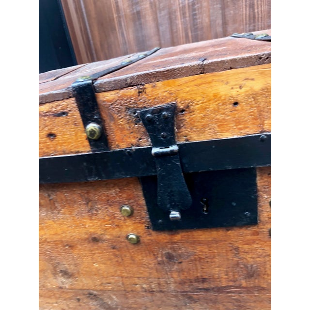 Animal Skin 19th Century American Classical Wood and Iron Travel Trunk For Sale - Image 7 of 11