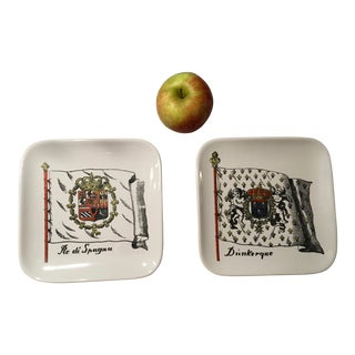 Vintage Antique Piero Fornasetti Spain Dunkirk France Flag Trays - A Pair For Sale