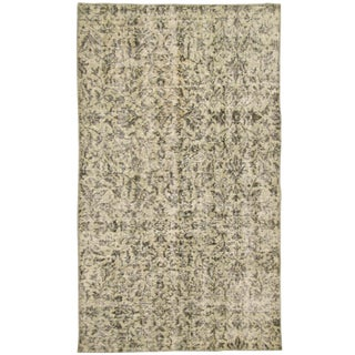 Patterned Beige Overdyed Carpet -- 3'1 x 5'3 Rug For Sale