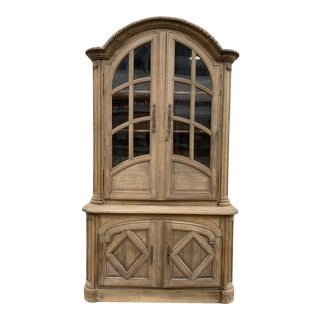 18th C French Bleached Oak Deux Corps Display Cabinet For Sale
