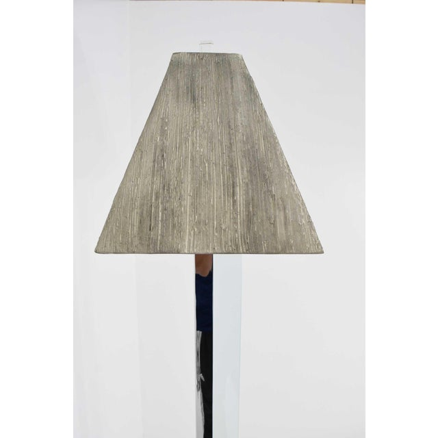 Silver Chrome and Glass Floor Lamp For Sale - Image 8 of 9