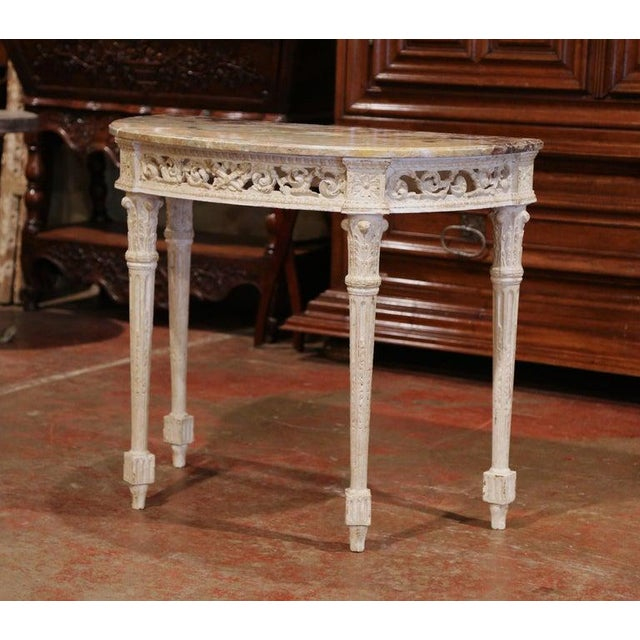 Wood Pair of 19th Century Louis XVI Carved Painted Demilune Consoles With Marble Top For Sale - Image 7 of 10
