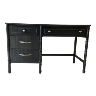 Faux Bamboo Black Painted Apartment Size Desk For Sale