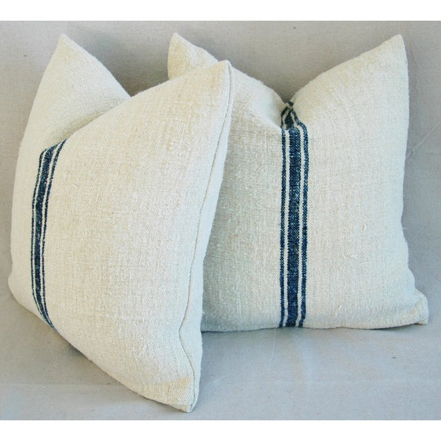 French Grain Sack Pillows - A Pair - Image 8 of 10