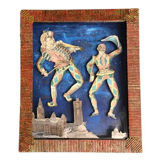 Original Contemporary Diorama Collaged 3d Court Jesters in Shadowbox Hand Made Frame Signed For Sale