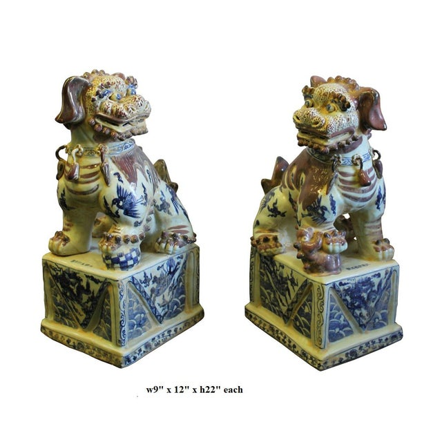 Blue Chinese Red White Blue Porcelain Foo Dogs - A Pair For Sale - Image 8 of 8