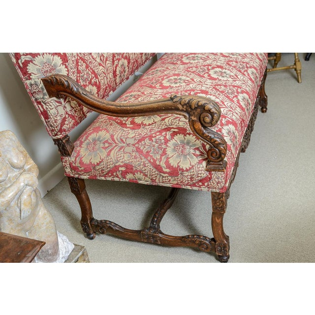 Queen Anne Large Upholstered Oak Settee For Sale - Image 3 of 8