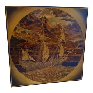 """Rudy Lechleiter """"Spanish Vessel"""" Brass & Copper Etching For Sale"""