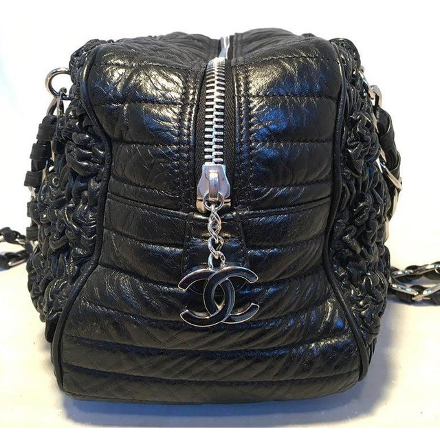 Contemporary Chanel Black Quilted and Ruched Leather Shoulder Bag Shopping Tote For Sale - Image 3 of 12