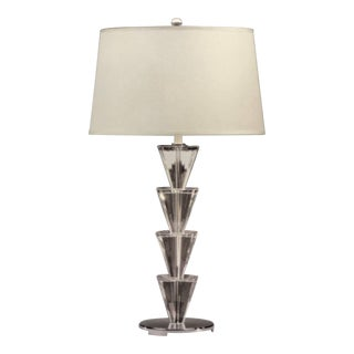 Italian Mid-Century Modern Style Crystal & Silver Table Lamps Fontana Arte, Pair