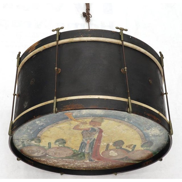 Large Drum Light Fixture Painted and Converted Floor Lamp For Sale - Image 9 of 12