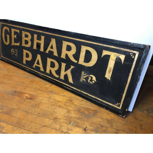 "Late 19th Century Antique Gold Leaf Sign ""Gebhardt Park "" For Sale - Image 5 of 6"