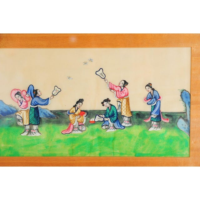 Chinese antique rice paper painting depicting women playing outdoors. Framed and ready to hang in your home!