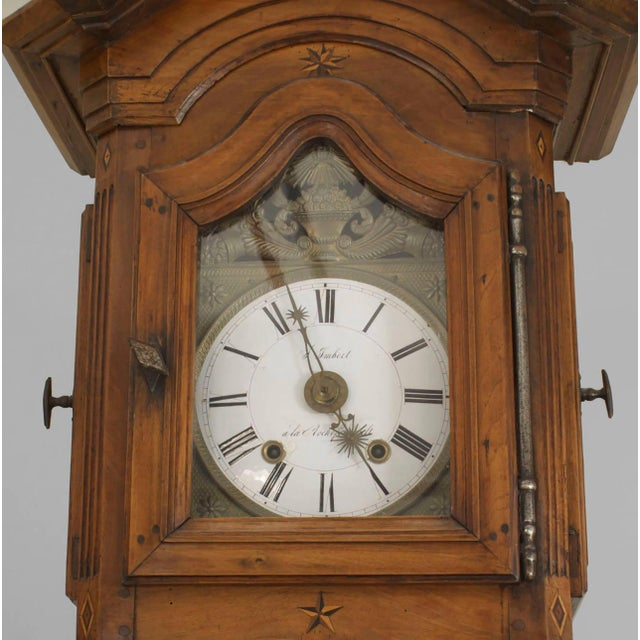Mid 18th century French Provincial walnut grandfather clock with fruitwood inlay and fluted sides (Non-operational).