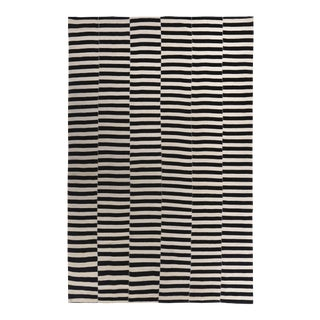 Turkish Kilim Rug With Black Stripes on Ivory Field For Sale