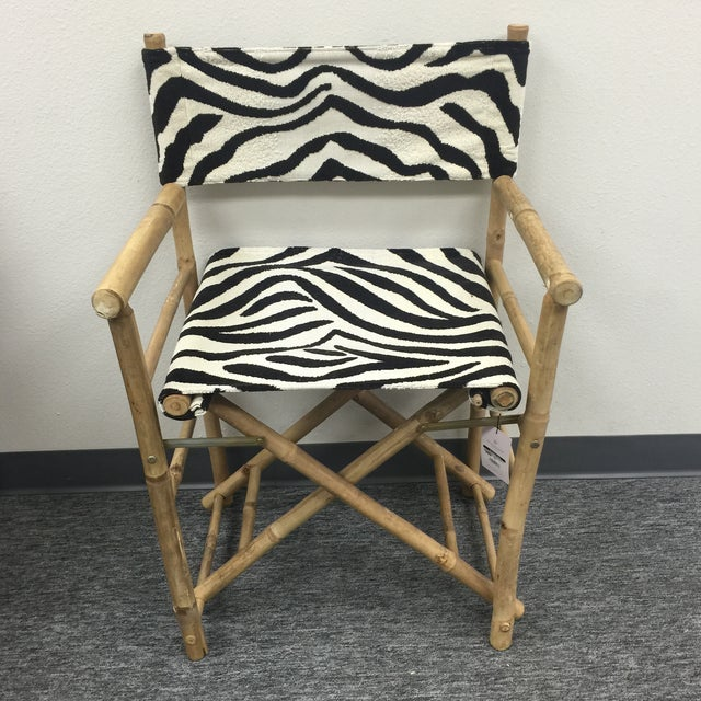 Textile Schumacher Zebra Fabric Folding Safari Chair For Sale - Image 7 of 7