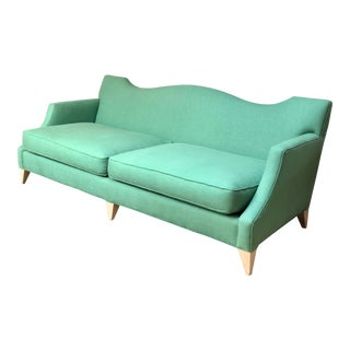 Green Linen Baker Sofa For Sale