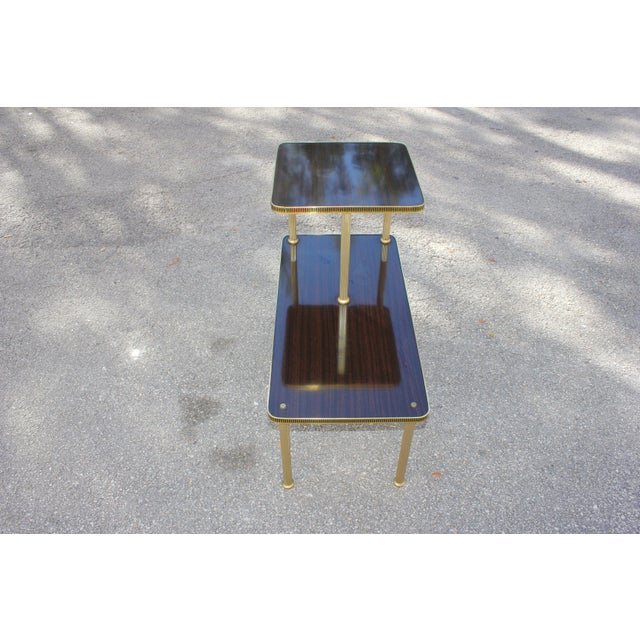 Brass 1940s Art Deco Mahogany and Brass Gueridon Side Table For Sale - Image 7 of 13