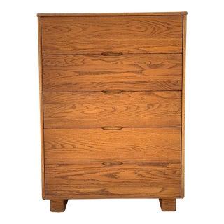 1970s Mid Century Modern Solid Oak Highboy Dresser For Sale