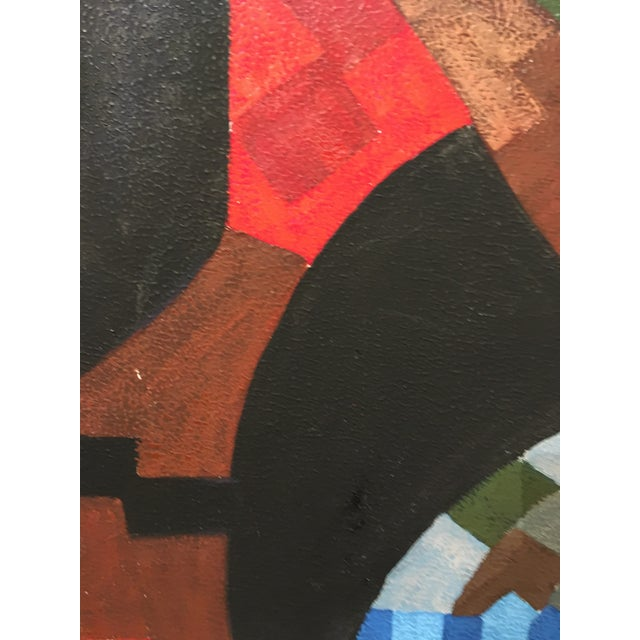 Vintage Abstract Geometric Oil Painting on Canvas For Sale In San Francisco - Image 6 of 10