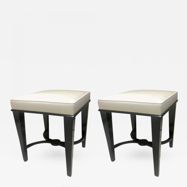 Andre Arbus Superb Pair of Neoclassic Stool Newly Covered in Silk For Sale - Image 9 of 9