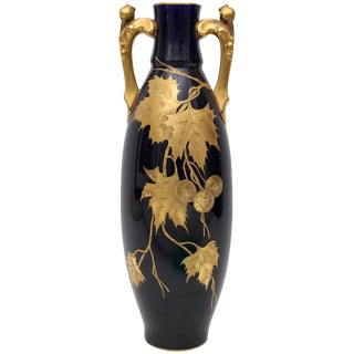 Porcelain Vase by Gustave Asch in Cobalt Blue and Gold, circa 1900 For Sale