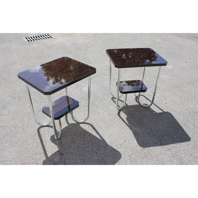 Bauhaus 1940s Modern Exotic Macassar Ebony Side Tables - a Pair For Sale - Image 3 of 11