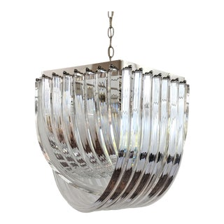1970s Lucite Banded Chandelier Venini Style For Sale