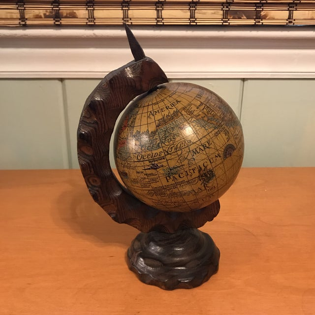 Mini Desktop Globe on Wood Axis For Sale In Charlotte - Image 6 of 13