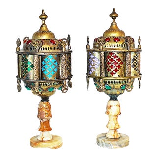 1960s Vintage Turkish Brass Onyx Lamps- A Pair For Sale
