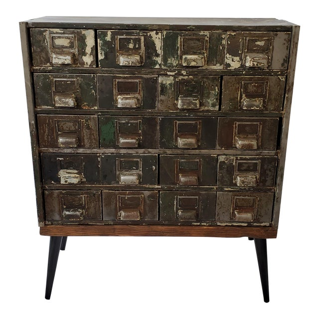 Mid Century Metal Card Catalog Upcycled Hall Table For Sale