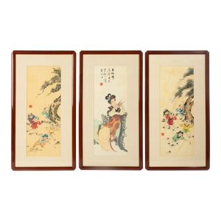 Antique Chinese Paintings on Silk For Sale