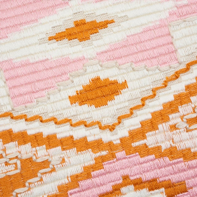 Tribal Schumacher Bayeta Pink and Orange Embroidery Pillow For Sale - Image 3 of 6