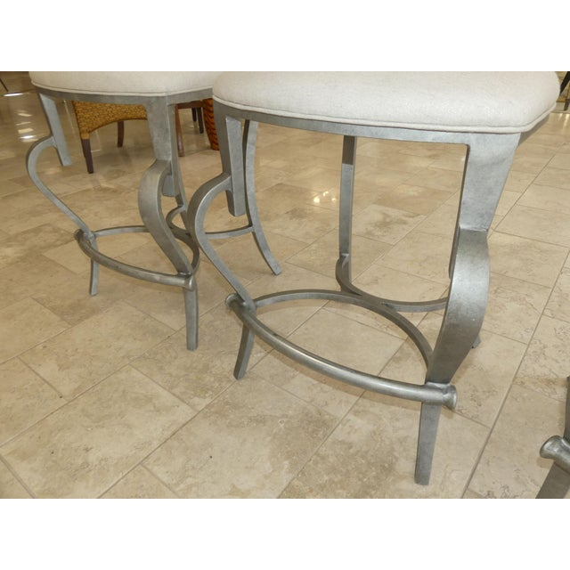 White 1990s Modern Biedermeier Style Metal Counter Stools - Set of 3 For Sale - Image 8 of 13