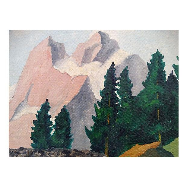 Mid-Century Mountain Scene Oil Painting - Image 2 of 7