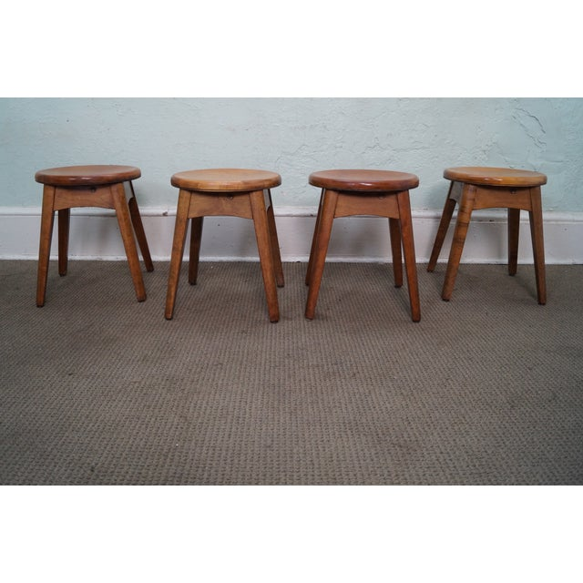 Vintage Solid Maple Stools or Benches - Set of 4 - Image 2 of 10
