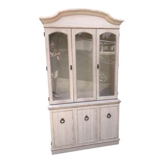 Vintage Faux Bamboo China Cabinet For Sale