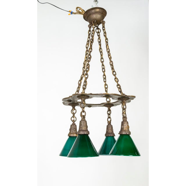 Metal Arts & Crafts Hammered Darkened Metal Chandelier With Green Glass Shades For Sale - Image 7 of 12
