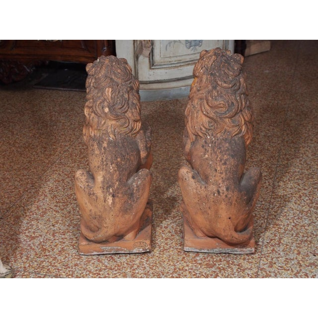 Early 19th Century Italian Terra Cotta Lions - Pair For Sale - Image 4 of 9