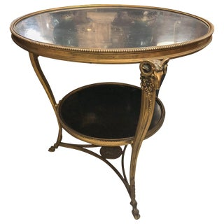 1920s French Gueridon Side Table With Ram's Head Details and Marble Top For Sale