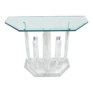1970s Hollywood Regency Lucite Console For Sale