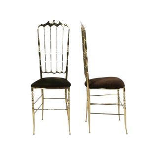 Chiavari Brass High Back Side Chairs - a Pair For Sale